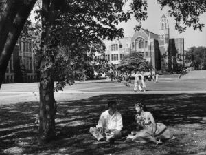 Students sitting in the Quad, 1950.