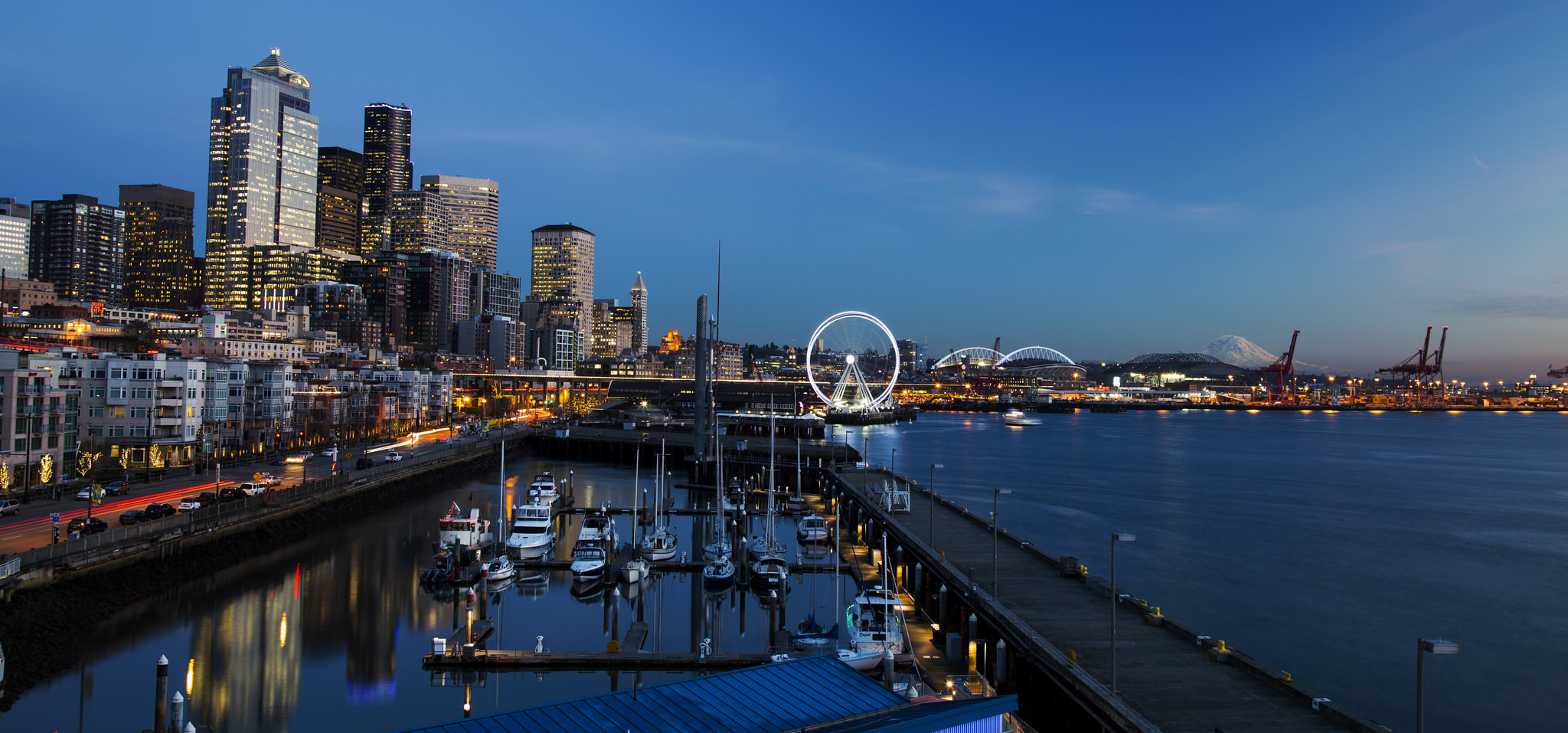 Photo of Seattle waterfront with Mount Rainier in the distance
